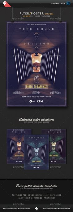 Portal To Paradise - Minimal Party Flyer / Poster Template A3 PSD