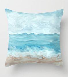 Throw Pillow Cushion Case Cover Sea View 267 blue tan sand beach beachy ocean sea nautical coastal modern art by L.Dumas by artbyLucie on Etsy #pillows #pillowcase