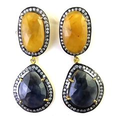 FREE SHIPPING 925 STERLING SILVER NATURAL BLUE AND YELLOW SAPPHIRE GEMS EARRING  #SilvexStore #DropDangle