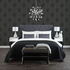 Papier peint baroque noir et gris black grey baroque for Decor papier peint mural