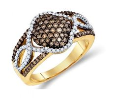 Brown and White Diamond Fashion Ring Band 10K Yellow Gold (0.64 ct.tw.) #Diamond #fashion #Jewelry jeweltie.com