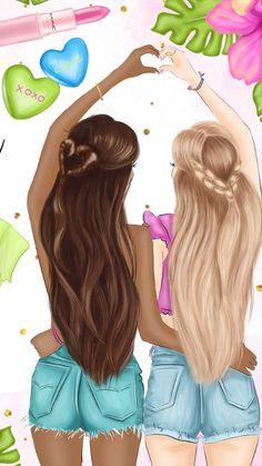 Cute Best Friend Drawings, Girl Drawing Sketches, Cute Girl Drawing, Girly Drawings, Drawings Of Friends, Bff Images, Bff Pictures, Best Friend Pictures, Best Friends Cartoon