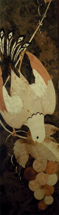 """A bird and grapes marquetry for cabinet. Made  with """"RENGESO"""" Japanese bespoke cabinet makers. http://www.rengeso.jp/"""