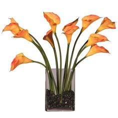 "23"" Artificial Potted Orange Calla Lily Silk Flower Arrangement"