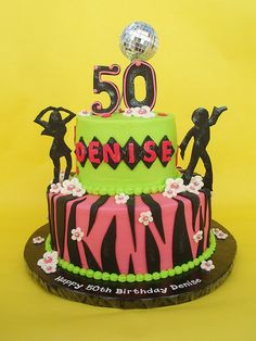 50th Disco Themed Birthday Cake by CakesUniqueByAmy.com, via Flickr