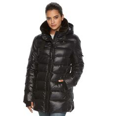 Women's S13 East Sider Hooded Shiny Down Puffer Jacket, Size: Medium, Oxford