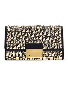 Michael Kors  Gia Studded Pebbled Leather Clutch.