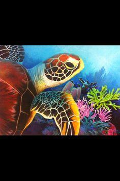 Sea turtle oil painting.