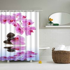 Orchids and Stones Pond Shower Curtain
