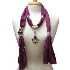 Purple Fleur Di Lis Charm Silver Tone Pend,$14.99