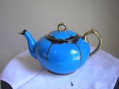 Vintage Beautiful Blue Japanese Art Deco Design Tea Pot