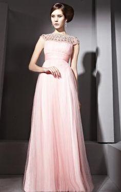 Tulle Elegant A-line Boat-Neck Sleeveless Long Prom Dress