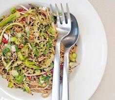 sesame-ginger soba noodle salad with ribboned asparagus- keep it skinny
