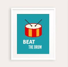 New to fudemori on Etsy: Beat The Drum Kids Nursery Art Print 0116 printable pdf Kids room decor music learning (5.50 USD)