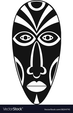 Simple illustration of african mask vector icon for web. Simple Illustration, Watercolor Illustration, Arte Tribal, Tribal Art, Ta Moko Tattoo, Tribal Images, Tiki Faces, African Art Paintings, Mask Drawing