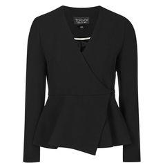 TopShop Wrap Peplum Jacket ($28) ❤ liked on Polyvore featuring outerwear, jackets, black, peplum jacket, topshop, topshop jacket and wrap jacket