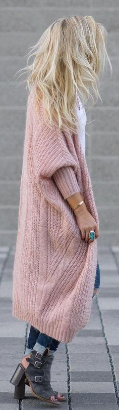 #winter #fashion /  Pink Maxi Cardigan / White Blouse / Skinny Denim / Green Ankle Boots