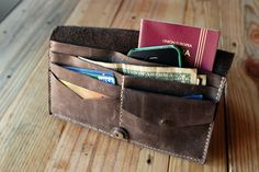 $142.00 Travel leather wallet Big wallet Chocolate by JustWanderlustShop. Size closed: 8,7 x 4,5 inches (22 x 11,5 cm)