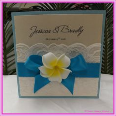 Square Frangipani Delight. Wedding Invitation. - Ideal DIY Wedding Invitation for any Wedding On the Beach or Beautiful Island Wedding. It can be a Beach or Garden Wedding Invitation with a touch of Beach and Floral. Wedding Invitation for all Wedding Types and Budget. For more Wedding Invitations, visit www.trulymadlydee...
