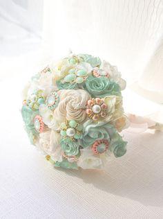 Mint & Peach Bridal Bouquet, Beach Wedding, Silk Flowers, Crystal flowers, Pearl, Spring Wedding, Southern Wedding WBQ6-MTCO on Etsy, $188.00