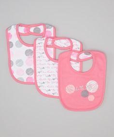 Loving this Calvin Klein Underwear Pink & Gray Polka Dot Reversible Bib Set on #zulily! #zulilyfinds