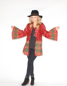Vintage Ethnic Silk Embroidered Jacket by redpoppyvintageshop, $86.00