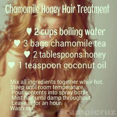 This is my own personal recipe.  I brew two large cups of hot water on my kurig! Easy, fast, and affordable. Great for people with split ends or dry hair. Makes hair feel incredible. Warning: May lighten hair, especially with repeated use, or left on in sunlight. Add 1 teaspoon cinnemon for additional lightening effect.  Safe to leave (non-cinnemon mix) in or wash out.  Leftovers maybe be refrigerated and reused for up to 48 hours. #hair