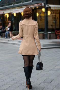 HerFashion Trendy Style Lapel Neck Women Winter Long Wool Coat Outerwear