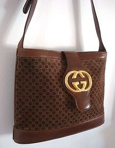 c03114e27ba Stunning Authentic Vintage Gucci brown Suede GG Medallion shoulder bag