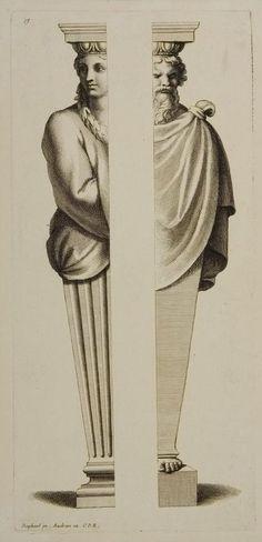 Two Halves of Termini.  Gérard Audran. After Raphael.