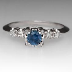 Vintage Knife Edge Montana Sapphire Engagement Ring 14K White Gold 1940's