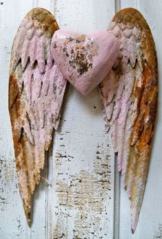 Metal angel wings wall sculpture shabby chic heart distressed pink and rust…