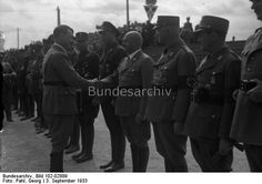 Nürnberg.- Reichsparteitag der NSDAP, von links nach rechts: Adolf Hitler, Albert Forster, Julius Streicher, Martin Mutschmann, Erich Koch