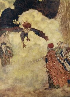 "Shakespeare's The Tempest. Act III, Scene 2. ""Sounds and sweet airs, that give delight and hurt not. "" Illustrated By Edmund Dulac"