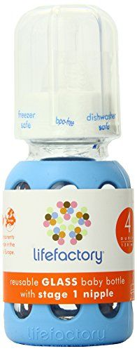 Lifefactory 4-Ounce BPA-Free Glass Baby Bottle with Protective Silicone Sleeve and Stage 1 Nipple, Sky Blue - $12.97
