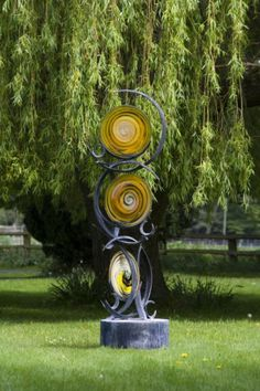 Forged Steel And Blown Stained Glass Garden Or Yard / Outside And Outdoor  Sculpture By Artist Jenny Pickford Titled: U0027Circles Of Life (Steel And  Blown ...