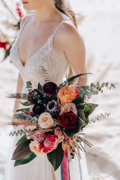 Dark & Dusty Intimate Boho Wedding: Zarja & Matic Beach Wedding Bouquets, Boho Beach Wedding, Wedding Flowers, Bridal Bouquets, Phuket Wedding, Destination Wedding, Unique Weddings, Real Weddings, Creative Wedding Inspiration