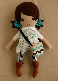 Reserved for Heidi - Fabric Doll Rag Doll Brown Haired Girl in Lace Overlay Dress and Fringed Brown Boots
