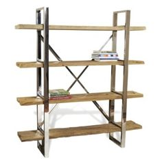 Hatcher Modern Rustic Reclaimed Wood Polished Silver Bookshelf By  TowelRACKED