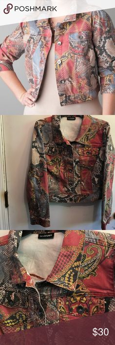 """Snake & paisley cropped jacket by Lane Bryant Snake & paisley printed cropped jacket from Lane Bryant! From a distance the print looks like a trendy python print, But it is a combination of snake print, paisley, and hearts — and it works beautifully! It has many matching options! Sz 14/16 44"""" bust measurement. EUC worn once or twice. Check my closet for other similar items. No trades. Lane Bryant Jackets & Coats Jean Jackets"""