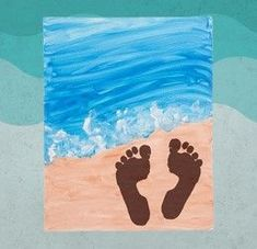Decorate for summer with an Ocean Canvas! Create a beachy scene by using paint a… Decorate for summer with Ocean Canvas! Create a beachy scene by using paint and even your own footprints. Find all of your supplies at Pat Catan's. Daycare Crafts, Toddler Crafts, Infant Crafts, Ocean Canvas, Beach Canvas, Kids Canvas, Canvas Canvas, Summer Crafts For Kids, Summer Crafts For Preschoolers