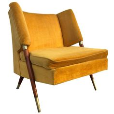Image of Mid Century Yellow Floating Lounge Chair Floating Lounge Chairs, Velvet Armchair, Mid Century Chair, Inspired Homes, Club Chairs, Home Decor Inspiration, Mid-century Modern, Accent Chairs, New Homes