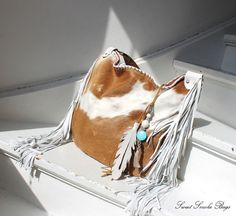 Fringed cow hair hide brown white leather purse by SweetSmokebags