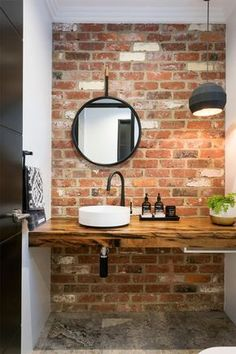 20 Masculine Bathroom Ideas With Exposed Brick Walls Bathroom Decor Ideas Bathroom Brick Exposed Ideas Masculine walls Brick Tiles Bathroom, Modern Bathroom Tile, Small Bathroom Sinks, Small Bathtub, Small Sink, Bathroom Tile Designs, Wood Tiles, Minimalist Bathroom, Shower Tiles