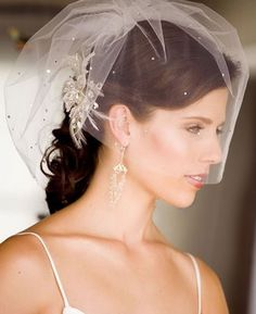Finer mesh blusher veil with jewel details. Feather and jeweled hairpiece. Half up-do