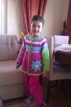 Ravelry: Project Gallery for Flower Cardigan pattern by Vendula Maderska Crochet Baby Cardigan, Crochet Baby Boots, Crochet Toddler, Crochet Coat, Baby Girl Crochet, Crochet Baby Clothes, Cardigan Pattern, Cute Crochet, Crochet For Kids