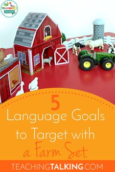 """Farm language activities are engaging for the student and fun for the Speech Language Pathologist. But with a wide range of needs on our caseloads, it can sometimes feel overwhelming. Here you will find speech therapy activity ideas to target a variety of goals using a toy farm set. SLPs can find tips on teaching vocabulary, prepositions, categories, """"WH"""" questions, and more while their student """"plays"""" with the interactive toys during their session."""