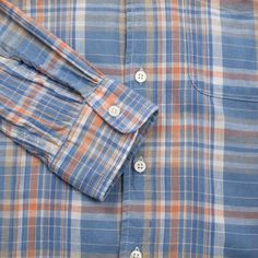 Engineered Garments Tap Collar Plaid Shirt - Light Blue & Orange - SALE - CATEGORIES - Superdenim