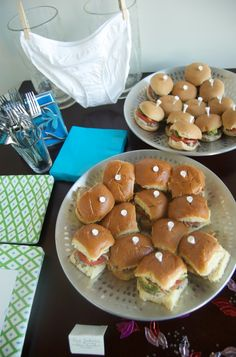 Use golf tees to hold your sandwiches together.... Perfect for a sports party!.... I have no idea why the underwear is there??? lol