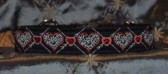 "Pet Necklace ""Hearts"" Design Dog Collar in Black with Red and White Thread"